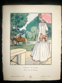 Gazette du Bon Ton by Brissaud 1914 Art Deco Pochoir. Tiens-Toi Bien!